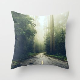 Redwood Forest Adventure - Nature Photography Throw Pillow