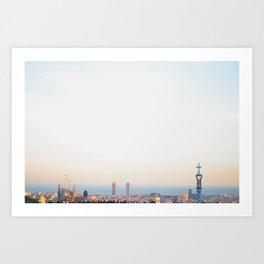 Sunset at Barcelona Art Print