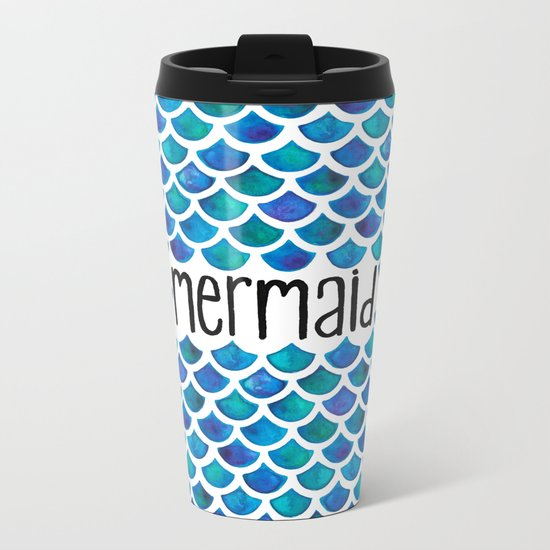 Mermaid Scales in Blue Metal Travel Mug