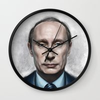 putin Wall Clocks featuring Vladimir Putin by Pavel Sokov