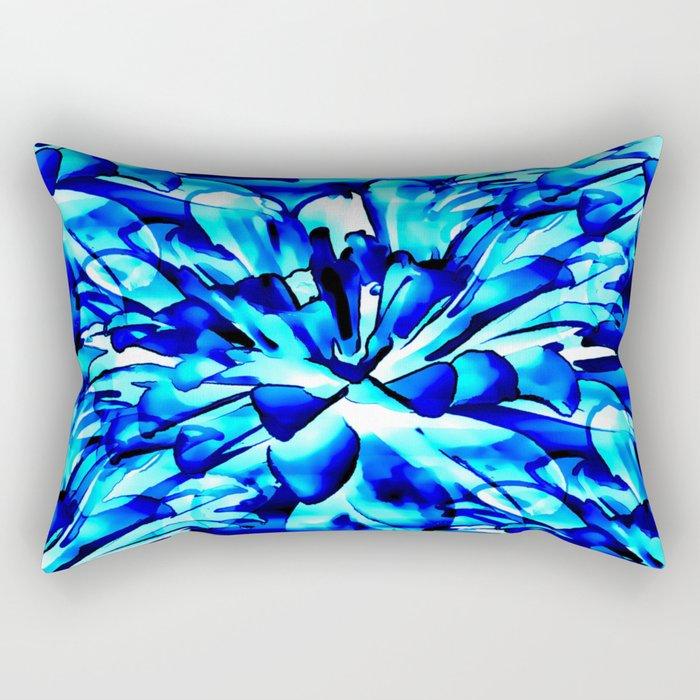 Painterly Ocean Blue Floral Abstract Rectangular Pillow