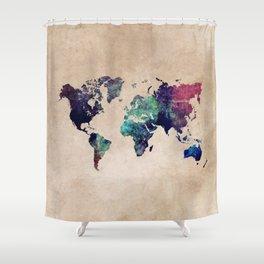 Cold World Map #map #worldmap Shower Curtain