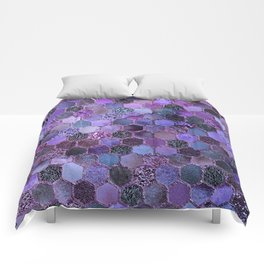 Purple geometric hexagonal elegant & luxury pattern Comforters