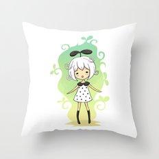 Bean Girl Throw Pillow