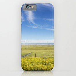 High plains yellow sundrops line the road in the Laramie Plain a high-plains grassland south of Lara iPhone Case