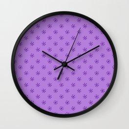 Indigo Violet on Lavender Violet Snowflakes Wall Clock