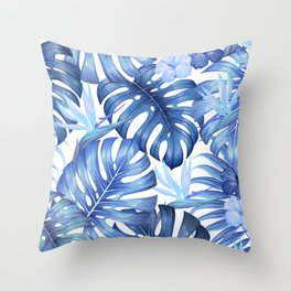 Blue tropical pattern  (monstera leaves and bird of paradise flowers Throw Pillow