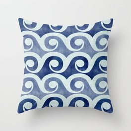 Retro Tropical Beach Waves - Indigo Blue Woodblock Throw Pillow