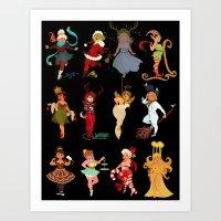 Christmas Pinups Art Print
