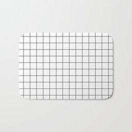 Black and White Thin Grid Graph Bath Mat