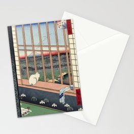 Utagawa Hiroshige Japanese Woodblock Cat Print Stationery Cards
