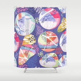 Abstract violet pink blue geometrical whimsical Shower Curtain