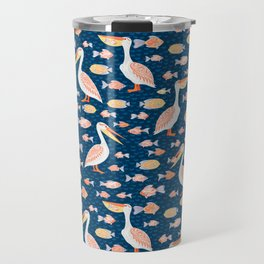Pelicans eat fish. Seamless decorative pattern. Travel Mug