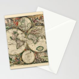Ancient Map of the World 1689 Stationery Cards