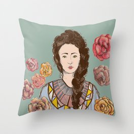 Carmella Roses Portrait Illustration Colorful Art Throw Pillow