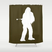 chewbacca Shower Curtains featuring Chewbacca - Inverted by Green Bird Press