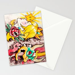 Peach and Bowser Tattoo Flash Stationery Cards