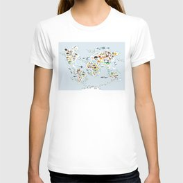Cartoon animal world map for children and kids, Animals from all over the world T-shirt