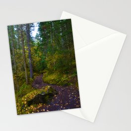 Walking along the Berg Lake Trail in Fall Stationery Cards