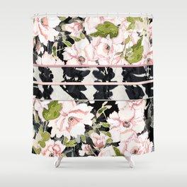 Pink Peony with Shibori Obi Band Print Shower Curtain