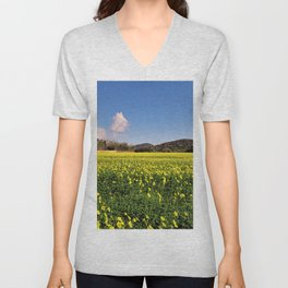 yellow flower meadow Unisex V-Neck