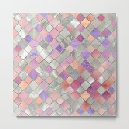 Quatrefoil Moroccan Pattern Mother of Pearl and quartz Metal Print