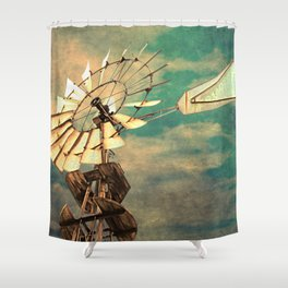 Rustic Windmill against Cloudy Sky Modern Country Art A520 Shower Curtain