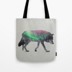Wolf In The Aurora Borealis Tote Bag
