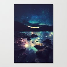 Magical Mountain Lake : Deep Pastels Teal Mauve Canvas Print