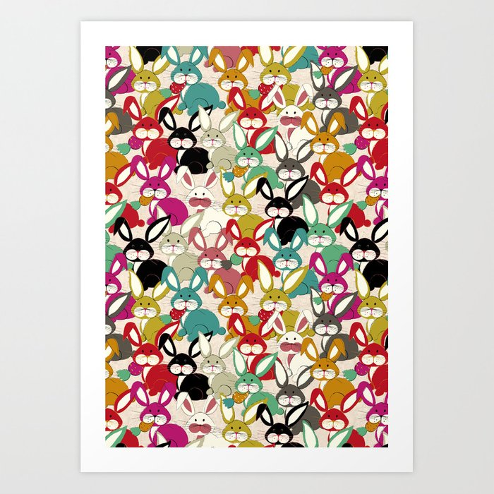Colored  Easter bunny seamless pattern Art Print
