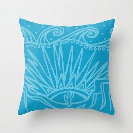 Saguaro Sunburst Blue Throw Pillow