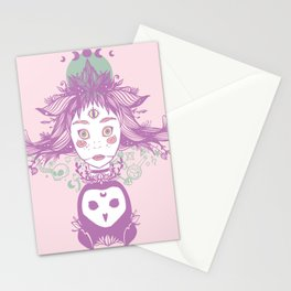 Witch, Third Eye, Moon Phases, And Owl Stationery Cards