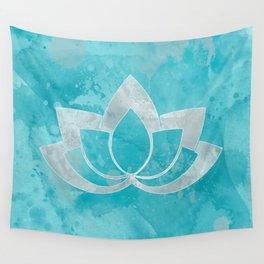 Lotus Flower on Aqua Wall Tapestry