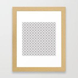 Lattice Gray on White Framed Art Print
