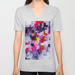 vintage psychedelic geometric square pixel pattern abstract in pink red blue purple Unisex V-Neck