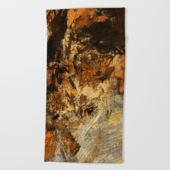 Ocher Wall Beach Towel