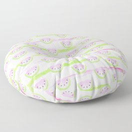 Modern pink lime green watercolor watermelon stripes Floor Pillow