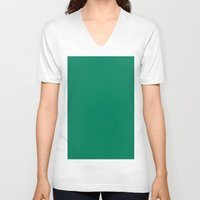 spanish V-neck T-shirts featuring Spanish viridian by List of colors