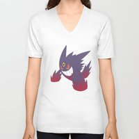 gengar V-neck T-shirts featuring Mega Gengar by Rebekhaart