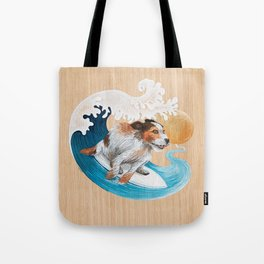Surfing dog wave sea sun Tote Bag
