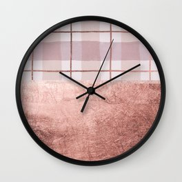Country blush coral ivory rose gold watercolor plaid Wall Clock