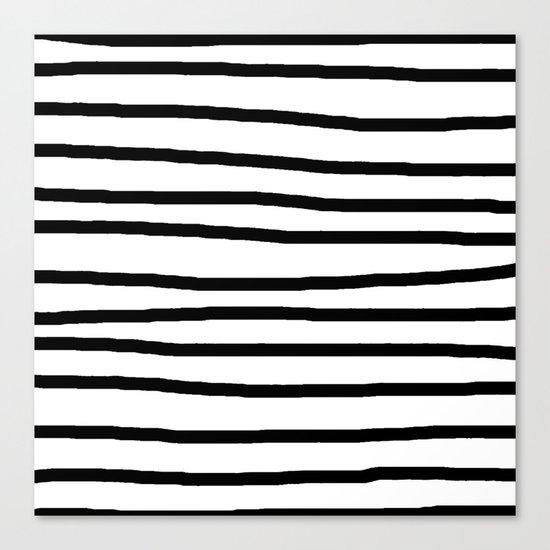 Simply Drawn Stripes in Midnight Black Canvas Print