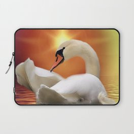 Mystical Swan in Golden Light Laptop Sleeve