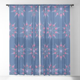 Red Pineapple Snowflakes Sheer Curtain