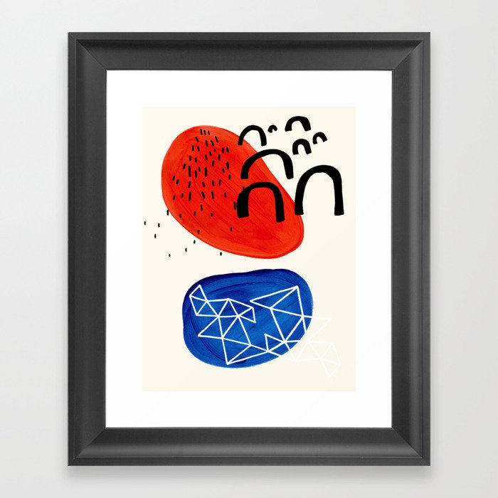 Mid Century Modern abstract Minimalist Fun Colorful Shapes Patterns Orange Blue Bubbles Organic Gerahmter Kunstdruck