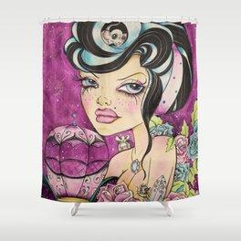 Rockabilly Pop Surreal Art - Rockabilly Girl - Pink Punk Art -  Shower Curtain
