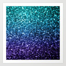 Beautiful Aqua blue Ombre glitter sparkles Art Print