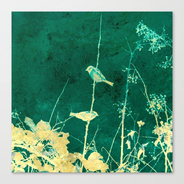 Yellow Birds on Vine Canvas Print