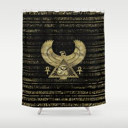 Egyptian Eye of Horus - Wadjet Gold and Black Shower Curtain