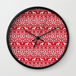 Boston Terrier fair isle dog pattern silhouette christmas sweater red and white Wall Clock